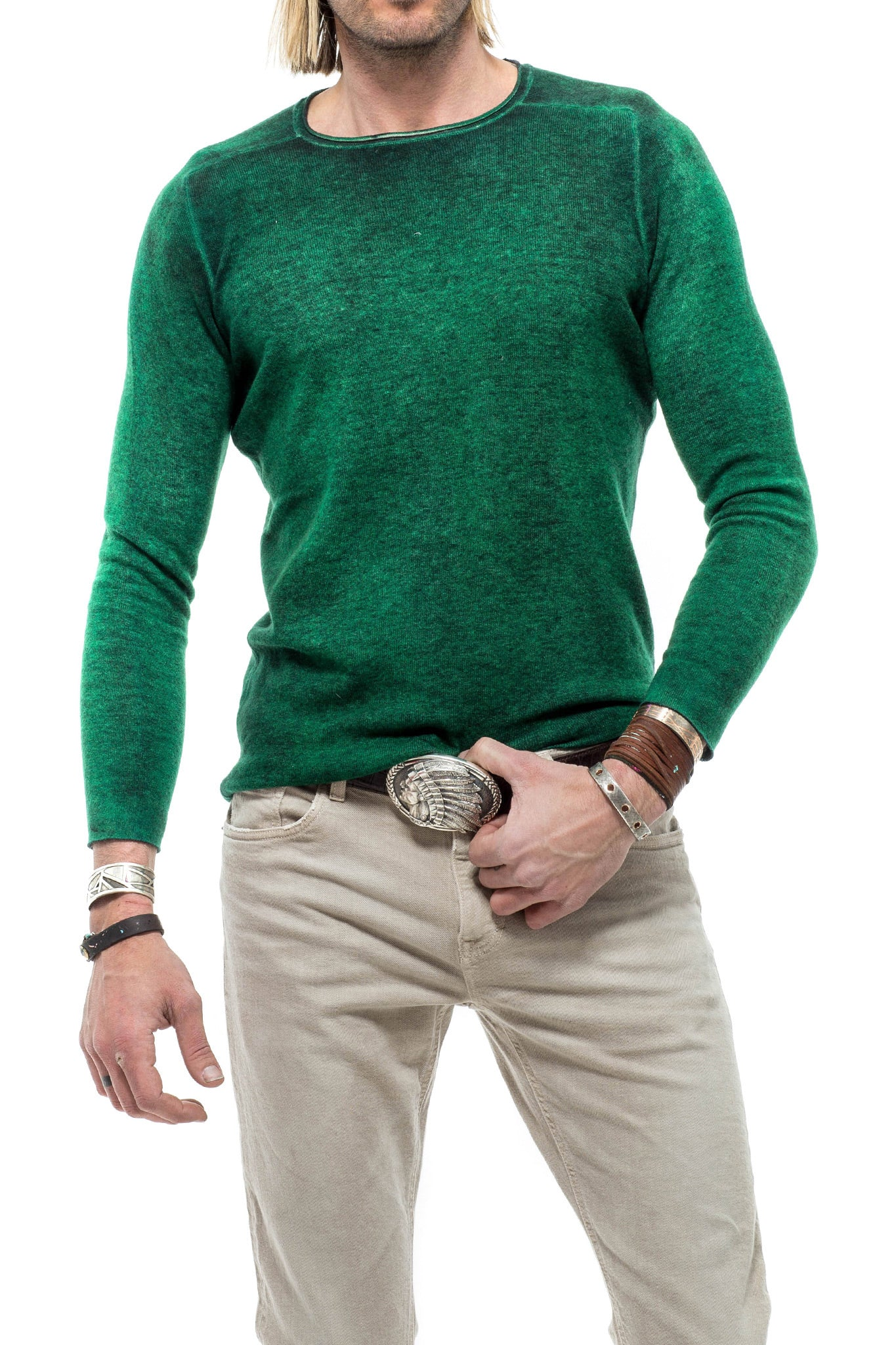 Avant Toi Sunbeam Cashmere Crew In Green (3601867636829)