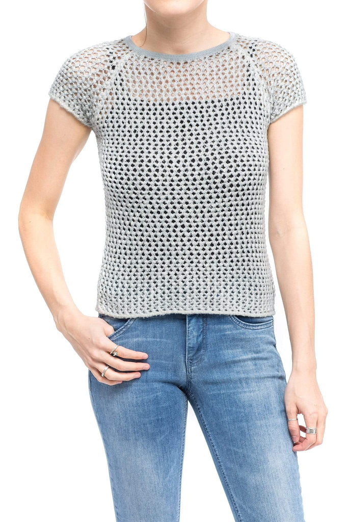 Avant Toi Cameron S/S Open Stitch Pullover in Slate Grey Ladies - Sweaters