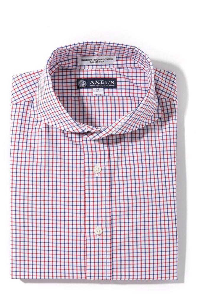 Axels-Is Forbes Graph Check Dress Shirt In Red/Blue Mens - Shirts - Outpost