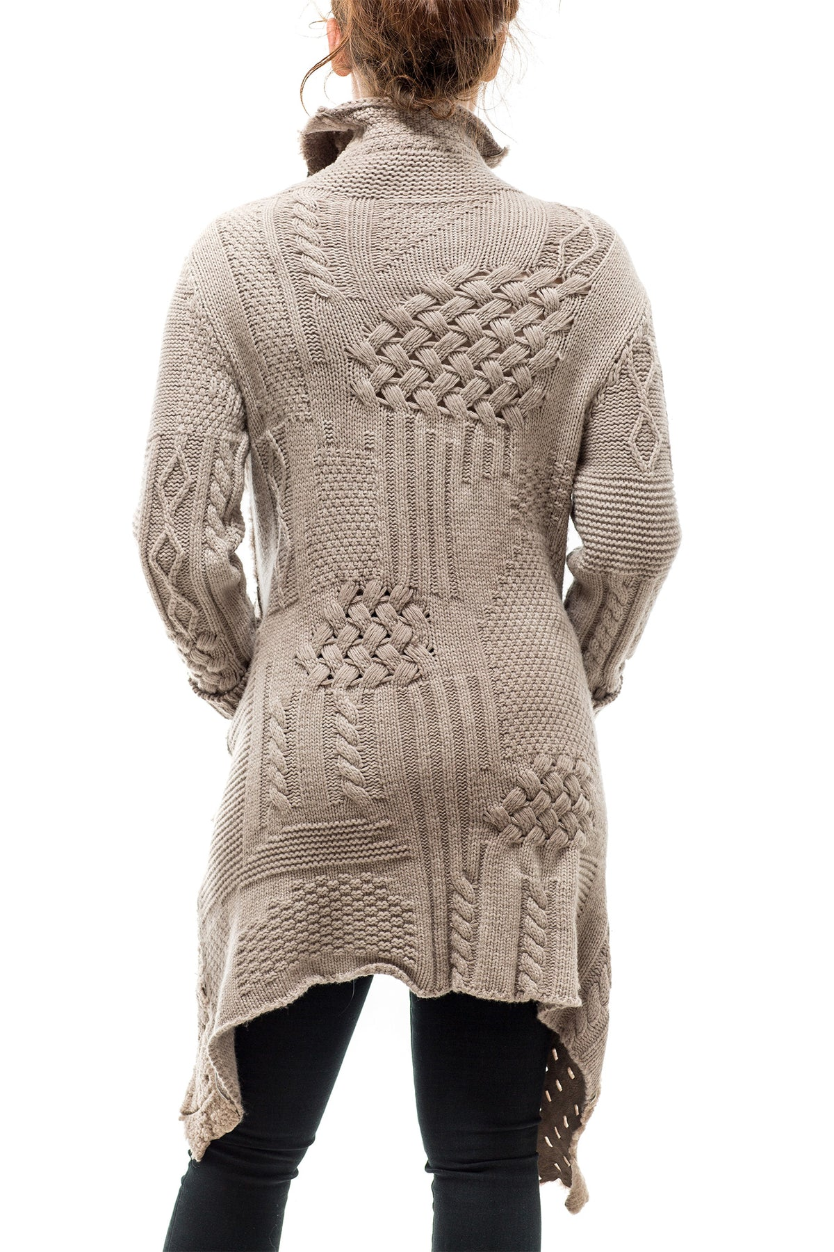 Antelope Reversible Multi-Weave Sweater/Shearling Coat In Taupe (3450129416285)