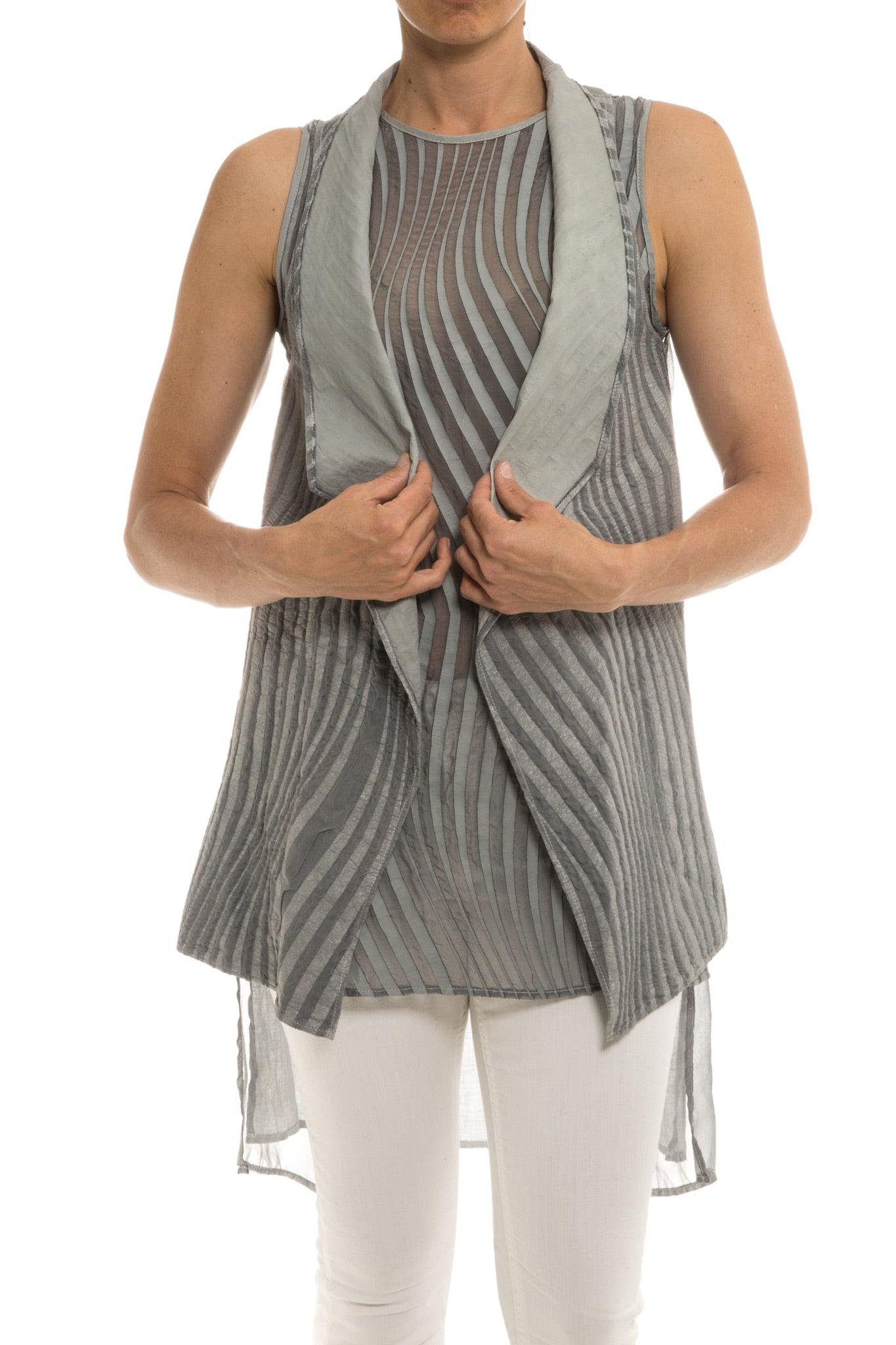 Kalahari Leather/Chiffon Vest in Pearl (3555090858077)