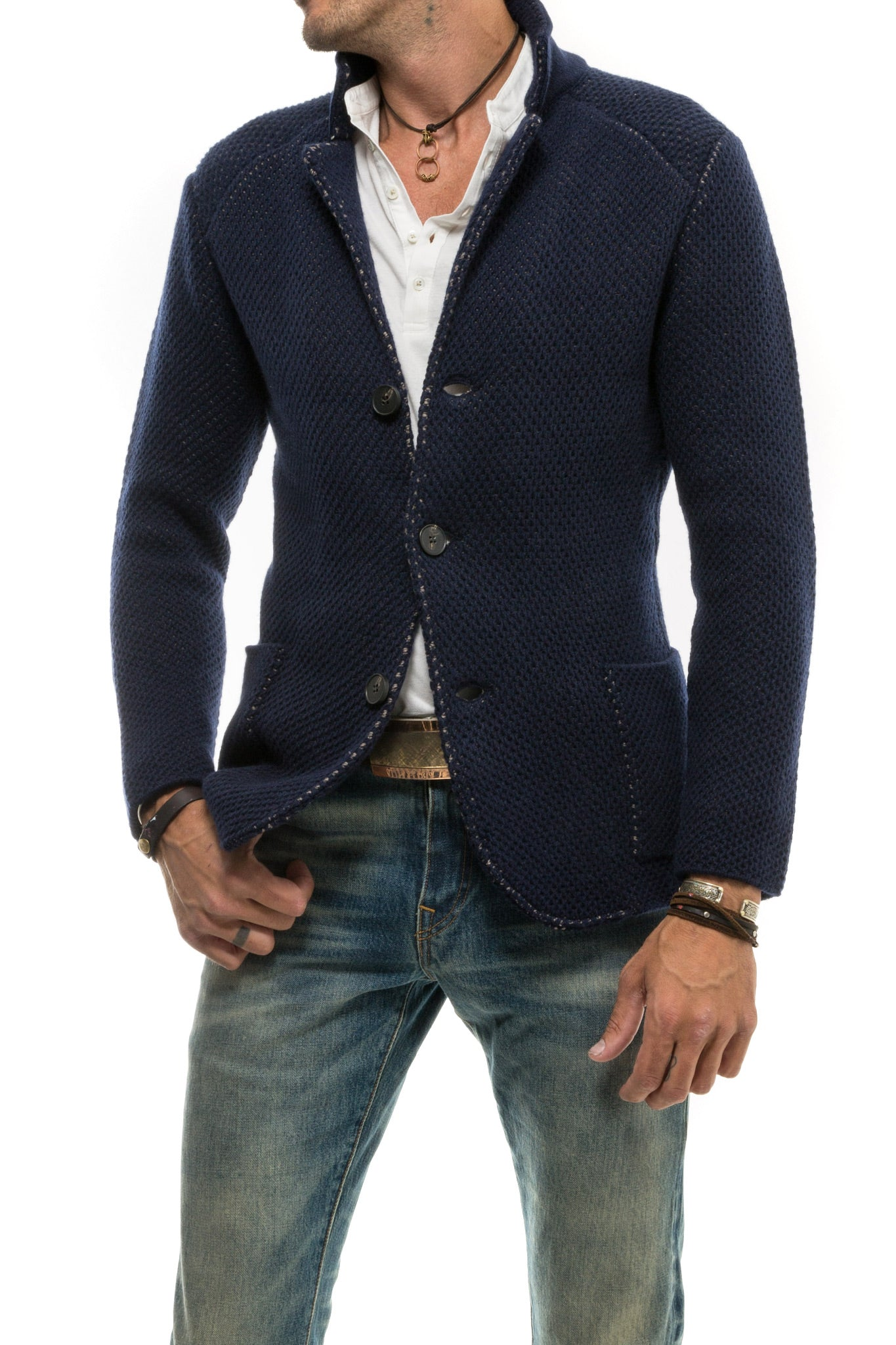 Axel's Navy Ritornato Sweater Jacket (3692711051357)