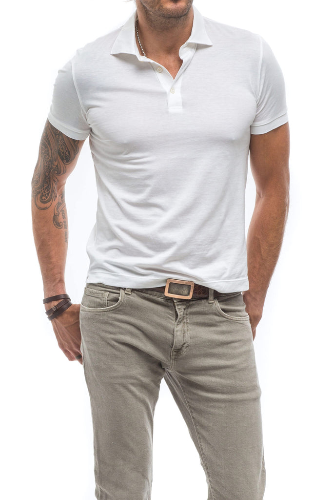 AJ Lightweight Polo in White (3677310517341)