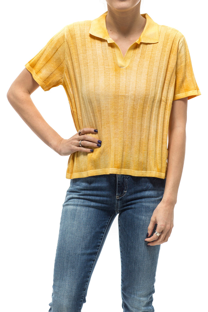 Ivy Ribbed Polo In Yellow (4590379794525)