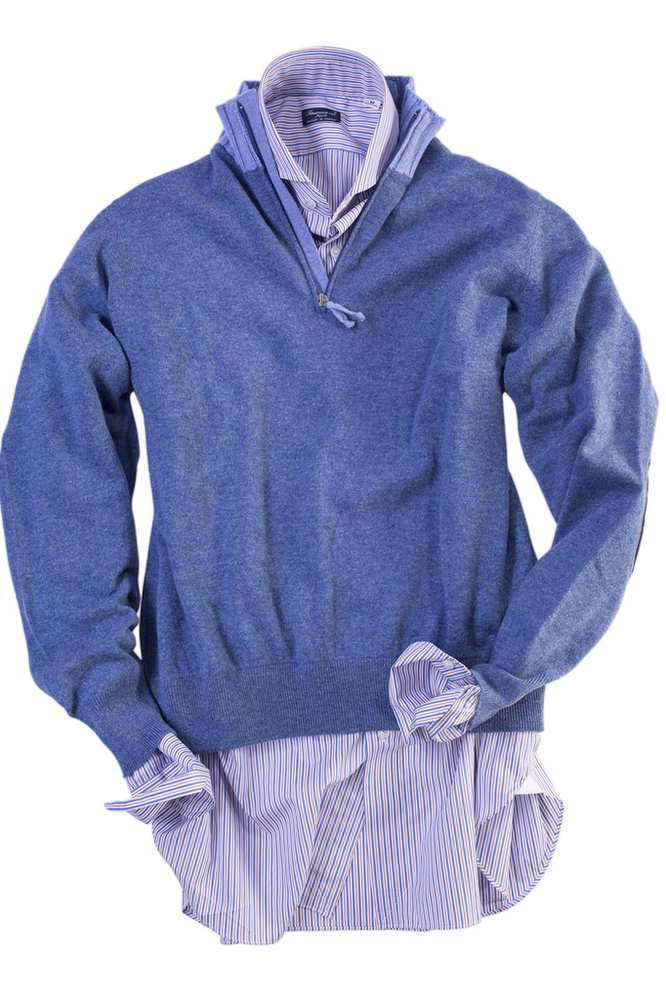 Axel's Lombardy Cashmere Half-Zip in Blue