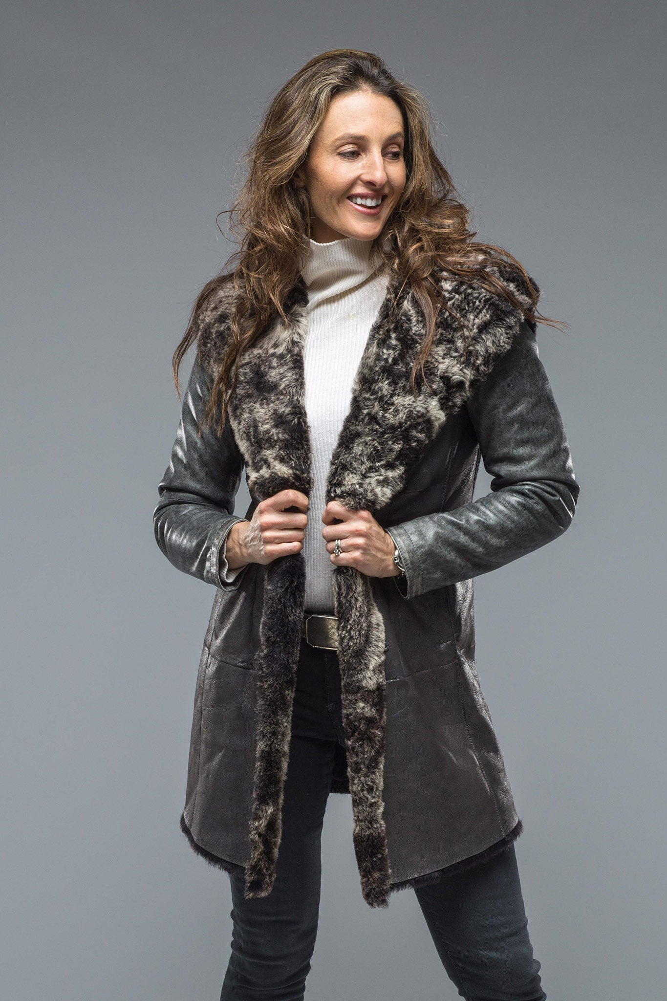 Brielle Hooded Shearling Coat