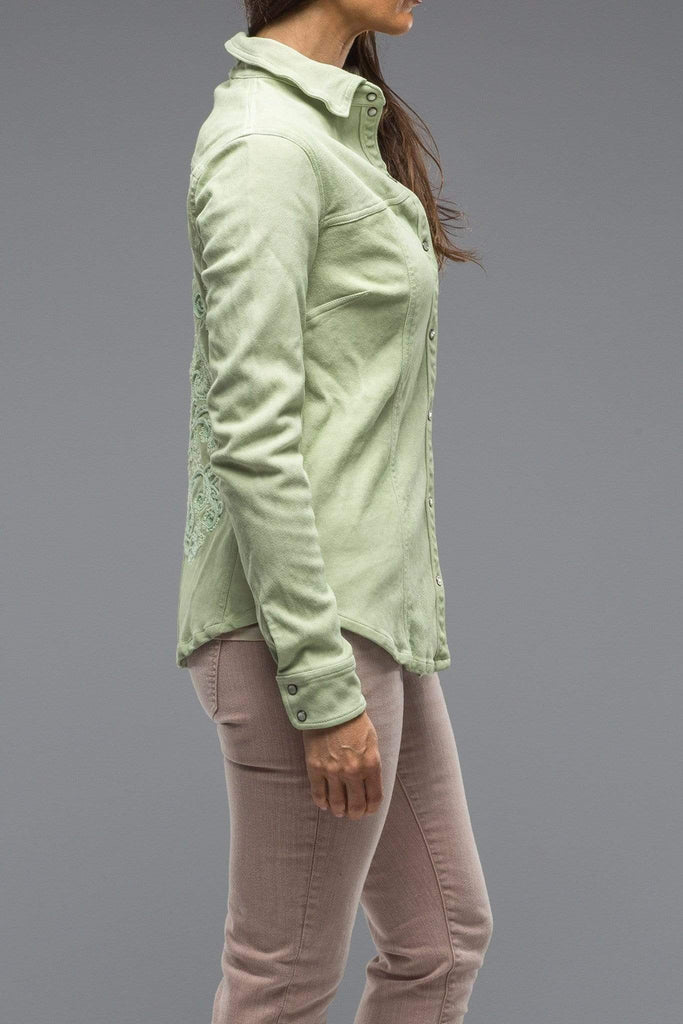 Dune Rosa Suede Western Snap Shirt w/ Embroidered Detail In Cactus Ladies - Outerwear - Leather