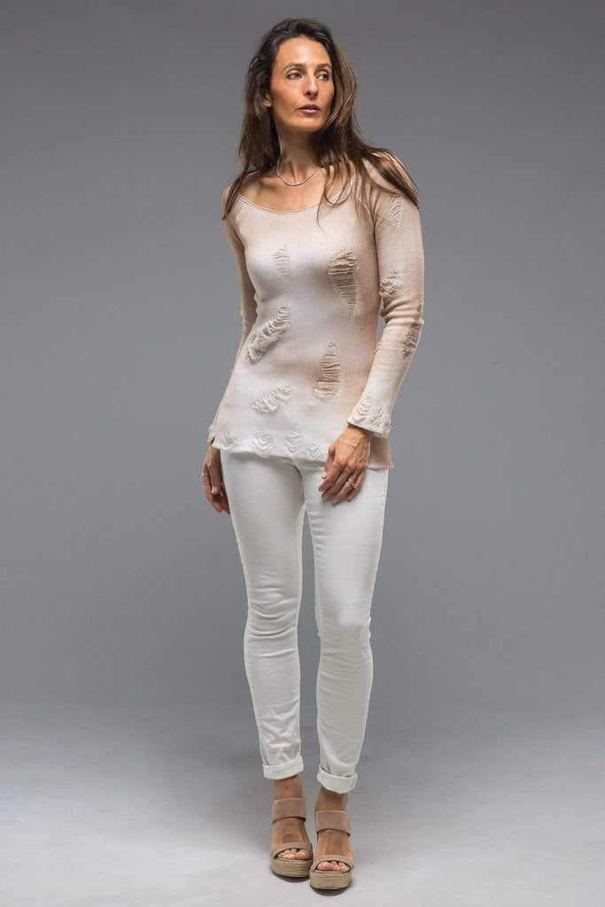 Dune Silvia Long Knit Top with Distressed Details in Beige Ladies - Sweaters