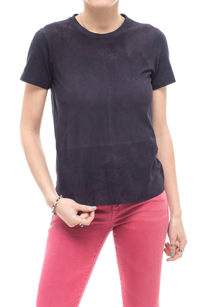 Angie Perforated Suede & Jersey T-Shirt in Navy (4636299526237)