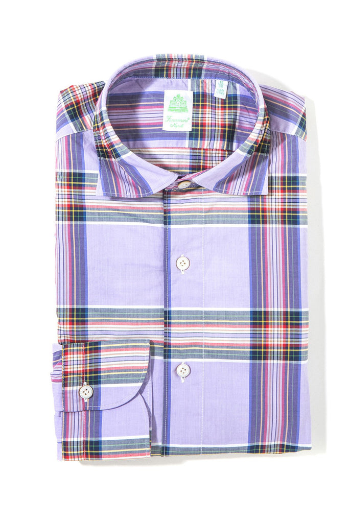 Finamore Rocco Sport Shirt Purple Plaid (3440678076509)