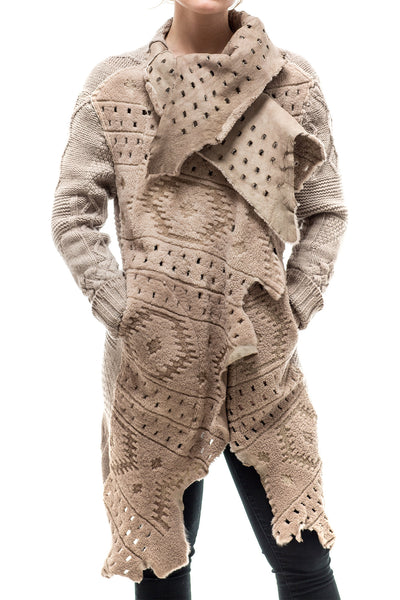 Antelope Reversible Multi-Weave Sweater/Shearling Coat In Taupe