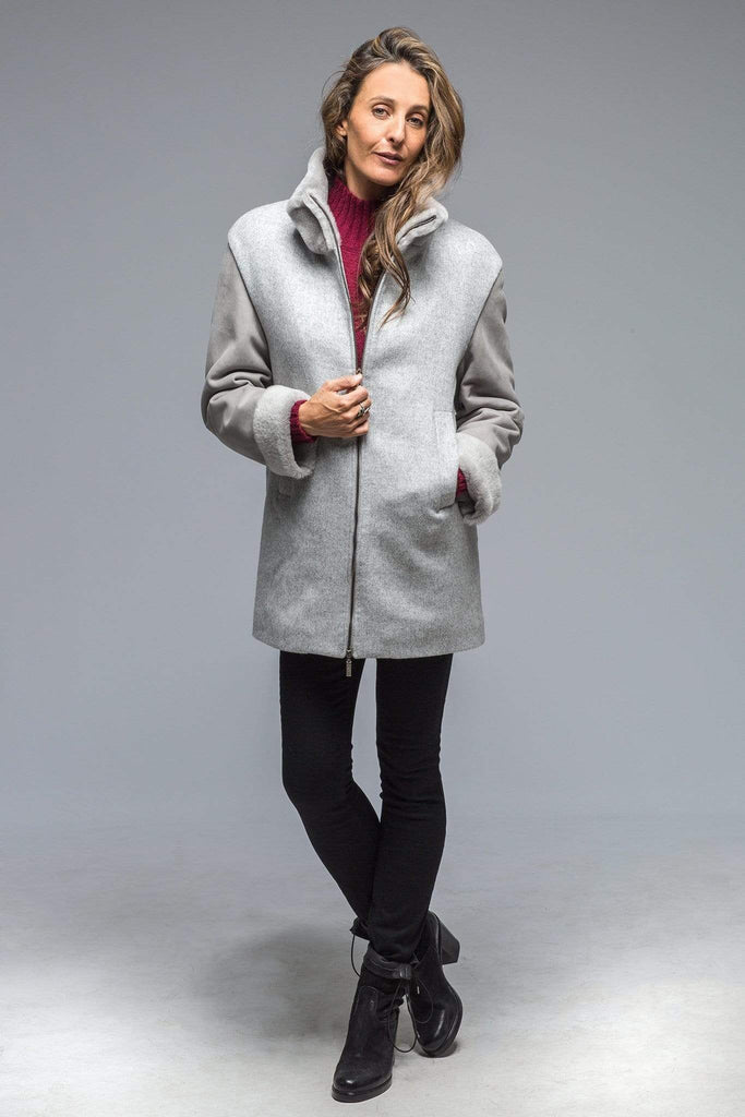 Gimo's Clio Coat In Grey Wool & Shearling Ladies - Outerwear - Cloth