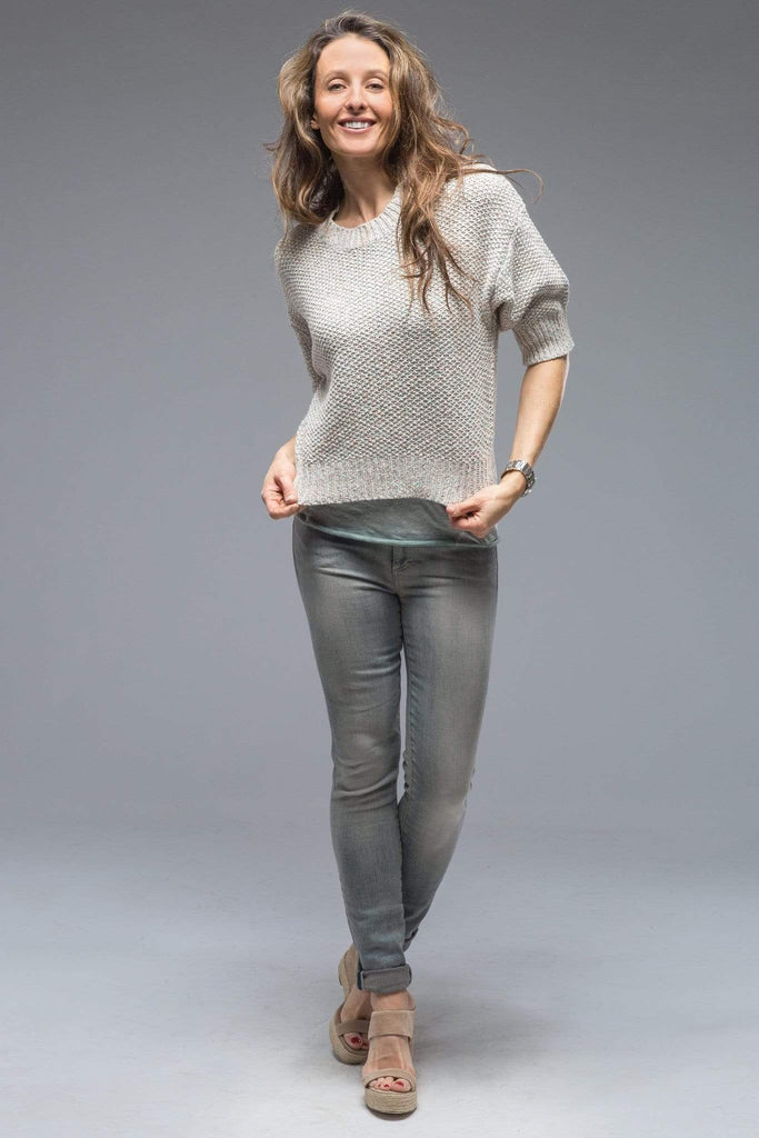 Henry Christ Ruthie 3/4 Sleeve Popcorn Stitch Sweater In Off White With Hints of Color Ladies - Sweaters