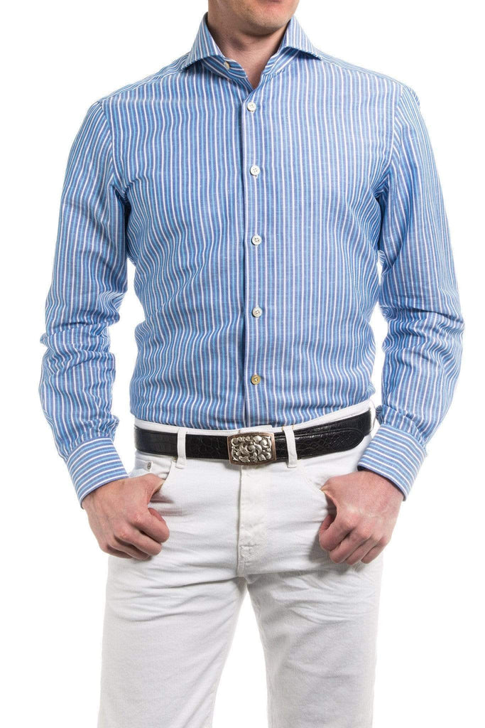 Kiton Maristella Stripe Dress Shirt in Blue Mens - Shirts