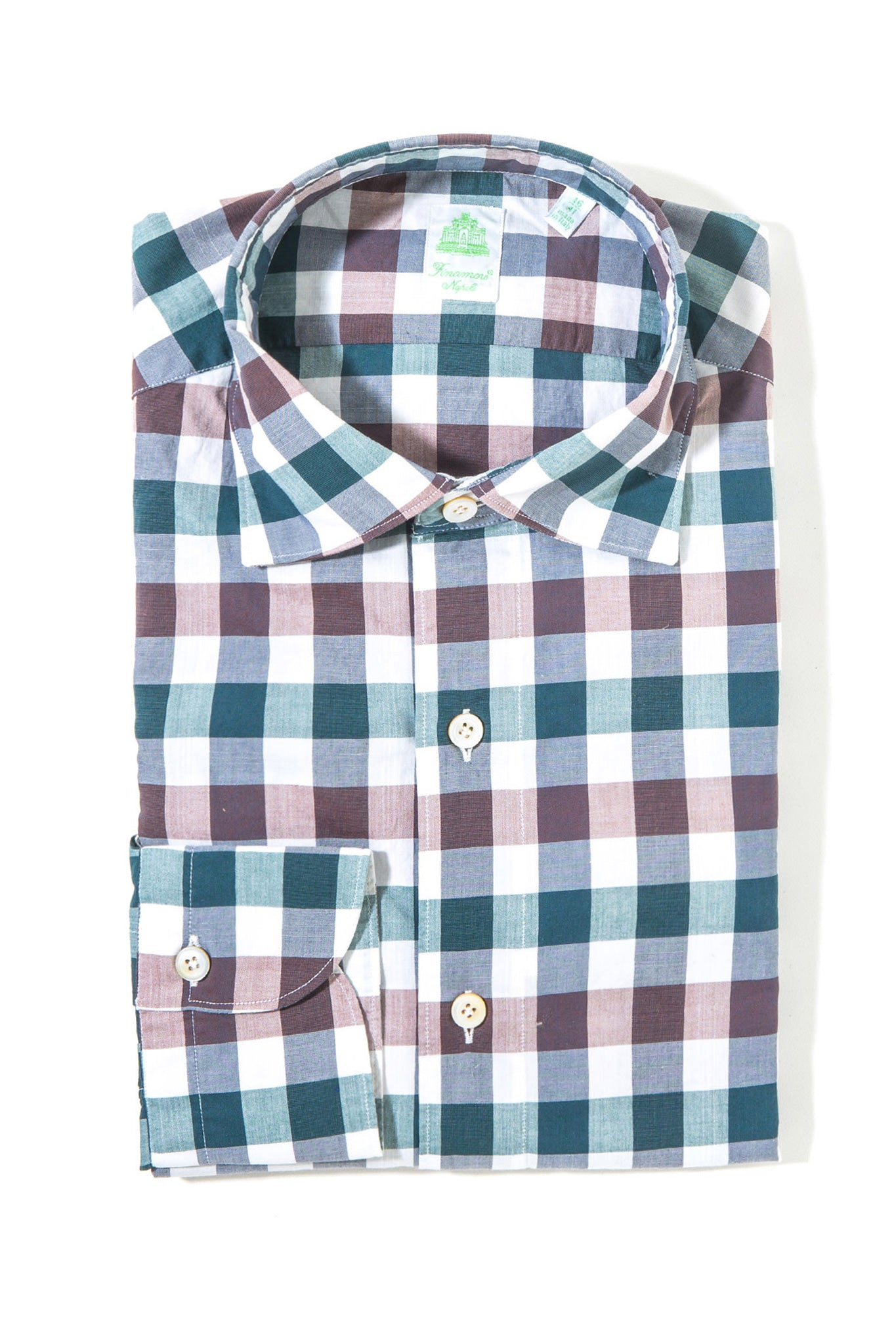 Finamore Giovanni Sport Shirt Green/Brown Plaid (3440637902941)