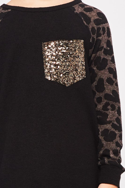 Little Girl Braxton Sequin Pocket Top
