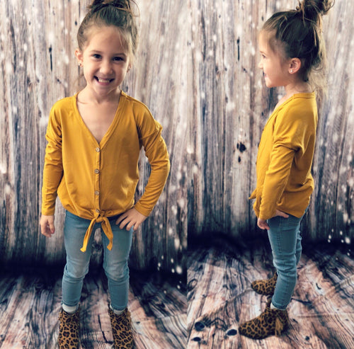 Toddler Mustard Button Up Tunic