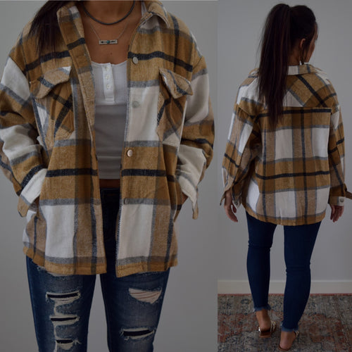 Mustard Plaid Oversize Coat