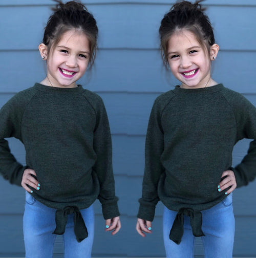 Children's Olive Tied Tunic Sweater