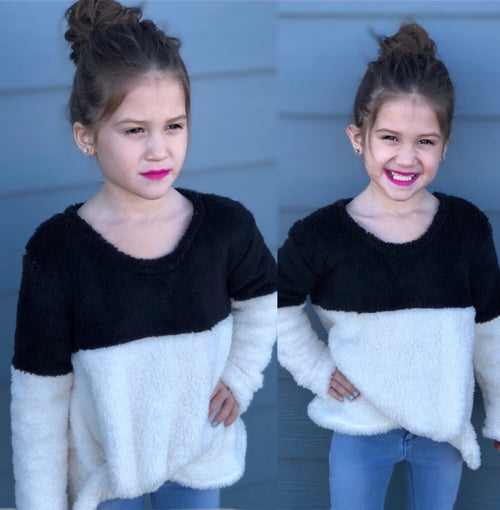 Kids Fuzzy Side Knot Sweater