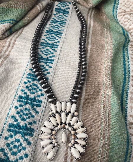 Whit Layered Necklace W/Matching Earrings