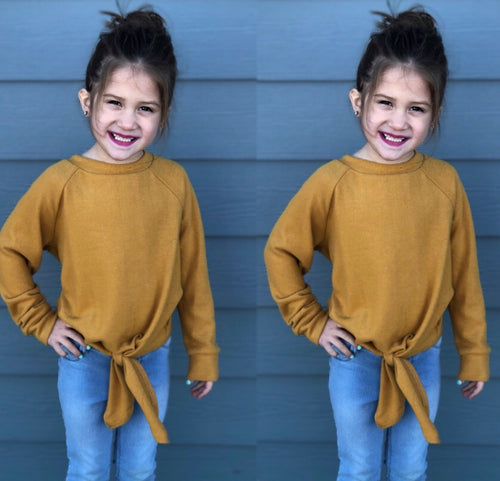 Children's Mustard Tied Tunic Sweater