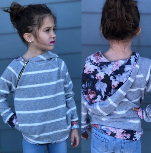 Children's Striped Floral Tunic Hoodie