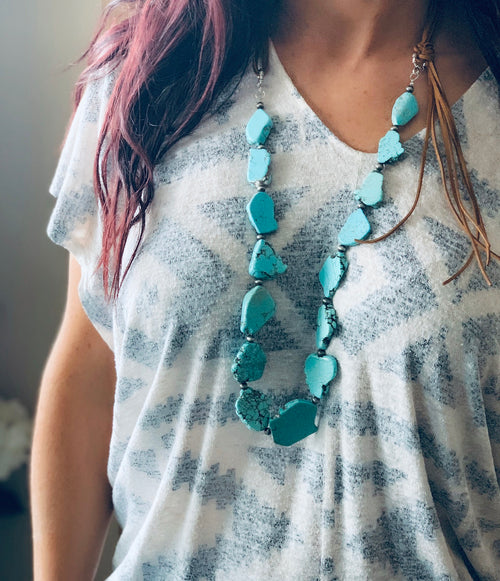 Rose Turquoise Slab Necklace