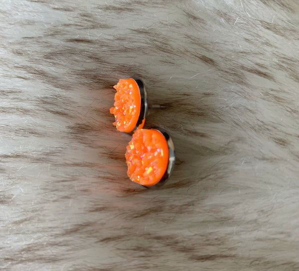 Orange Sherbet Druzy Earrings