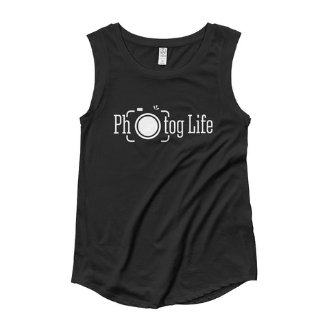 Photog Life Long Logo Ladies' Cap Sleeve T-Shirt