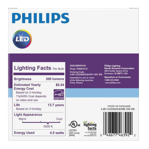 B11 Philips 4.5W Dimmable Candelabra Daylight White Med Base Indoor (6 Pack) image 21292834945