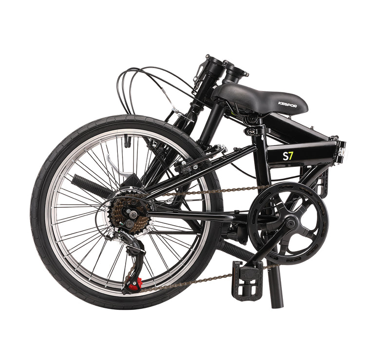 Kespor S7 Folding Bike 20 inch Shimano 7-Speed Black