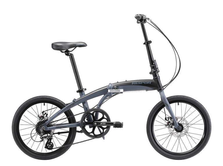 "Kespor Thunderbolt D8 Folding Bike 8-Speed Dual Disc Brakes 20"" Wheel-Black"