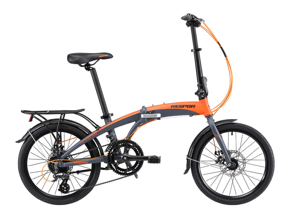 "Kespor Thunderbolt Folding Bike 16-Speed Dual Disc Brakes 20"" Wheel-Orange"