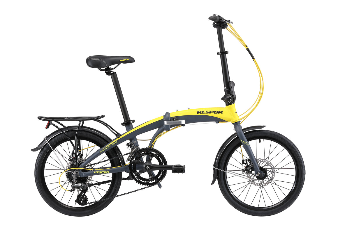 "Kespor Thunderbolt Folding Bike 16-Speed Dual Disc Brakes 20"" Wheel-Yellow"