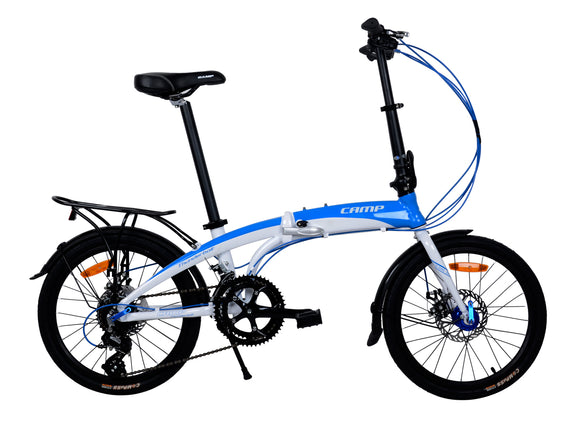 "CAMP Thunderbolt 16-Speed Dual Disc Brakes 20"" Wheel Blue/White"