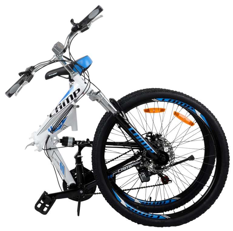 "Best Folding Mountain Bike Rocky- 26"" Wheels White"
