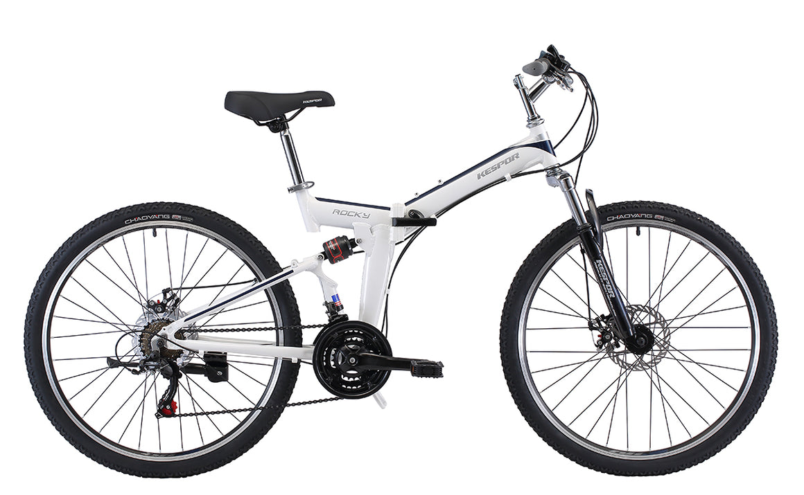"Best Folding Mountain Bike Rocky- Kespor 26"" Wheels White"