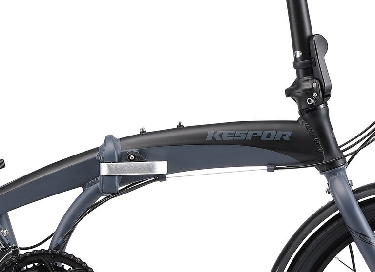 "Kespor Thunderbolt Folding Bike 16-Speed Dual Disc Brakes 20"" Wheel-Black"