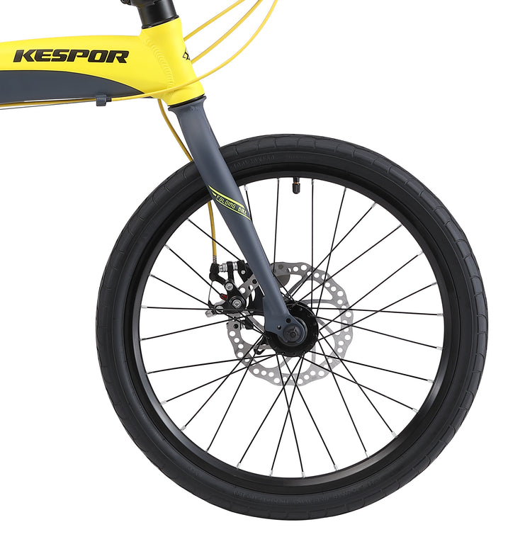 "Kespor Thunderbolt D8 Folding Bike 8-Speed Dual Disc Brakes 20"" Wheel-Yellow"