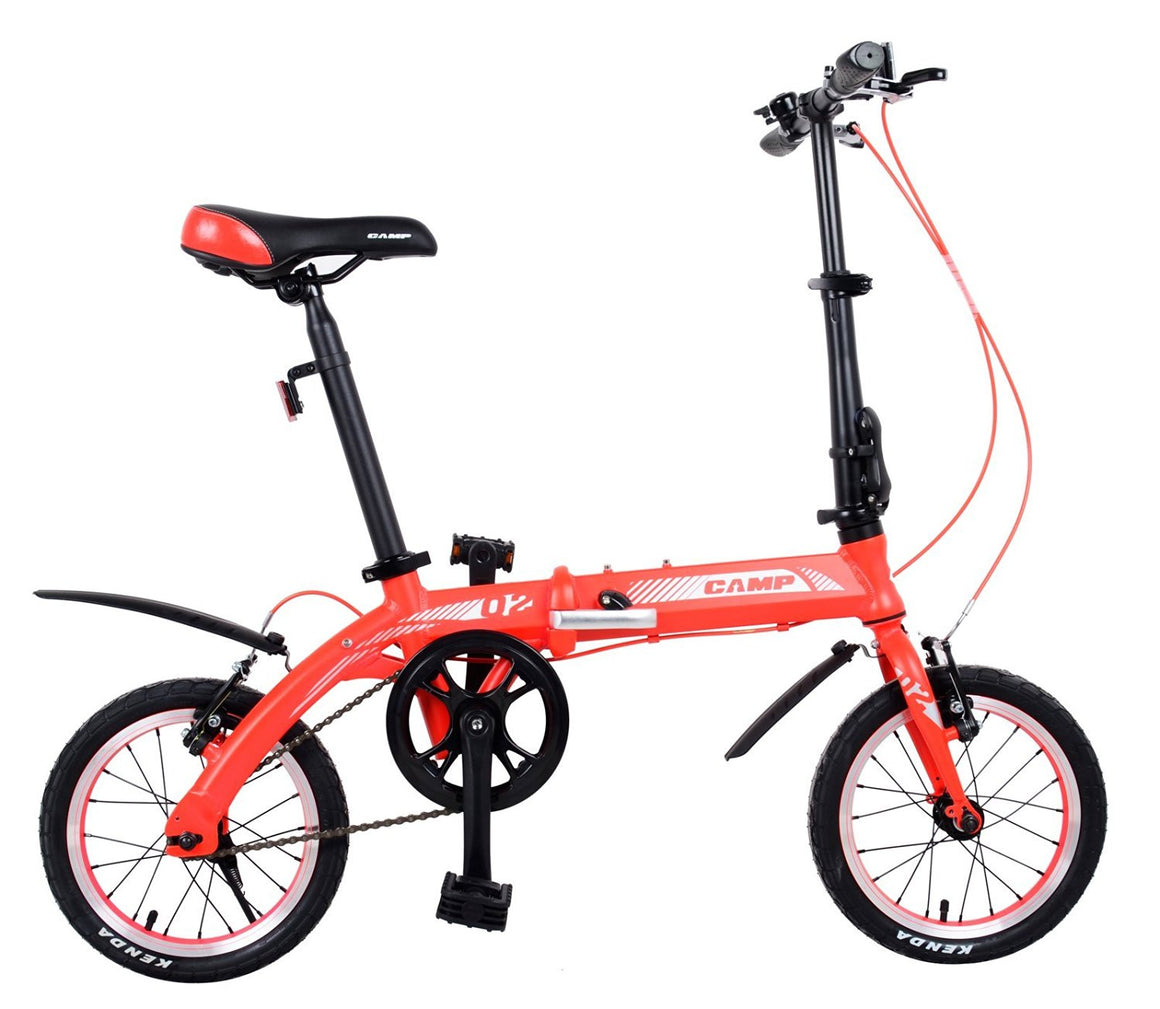 "CAMP Q2 Single Speed Folding Bike 14"" Wheels Red"
