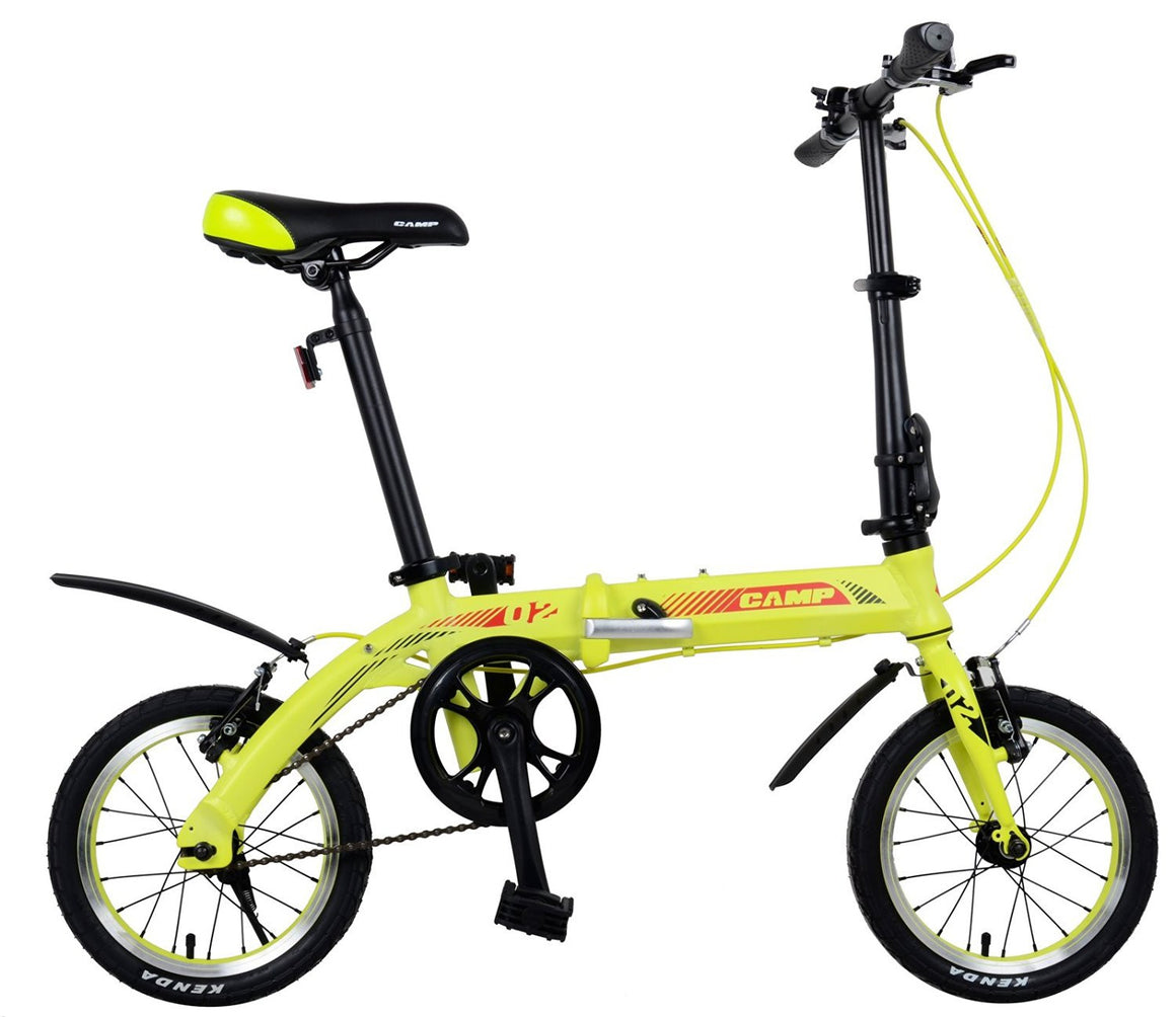 "CAMP Q2 Single Speed Folding Bike 14"" Wheels Yellow"