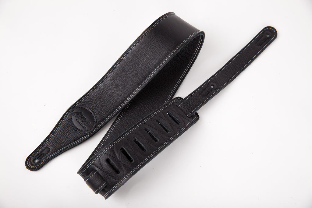 "Black 2 1/2"" triple-ply super-soft garment leather guitar strap with Collings Logo"