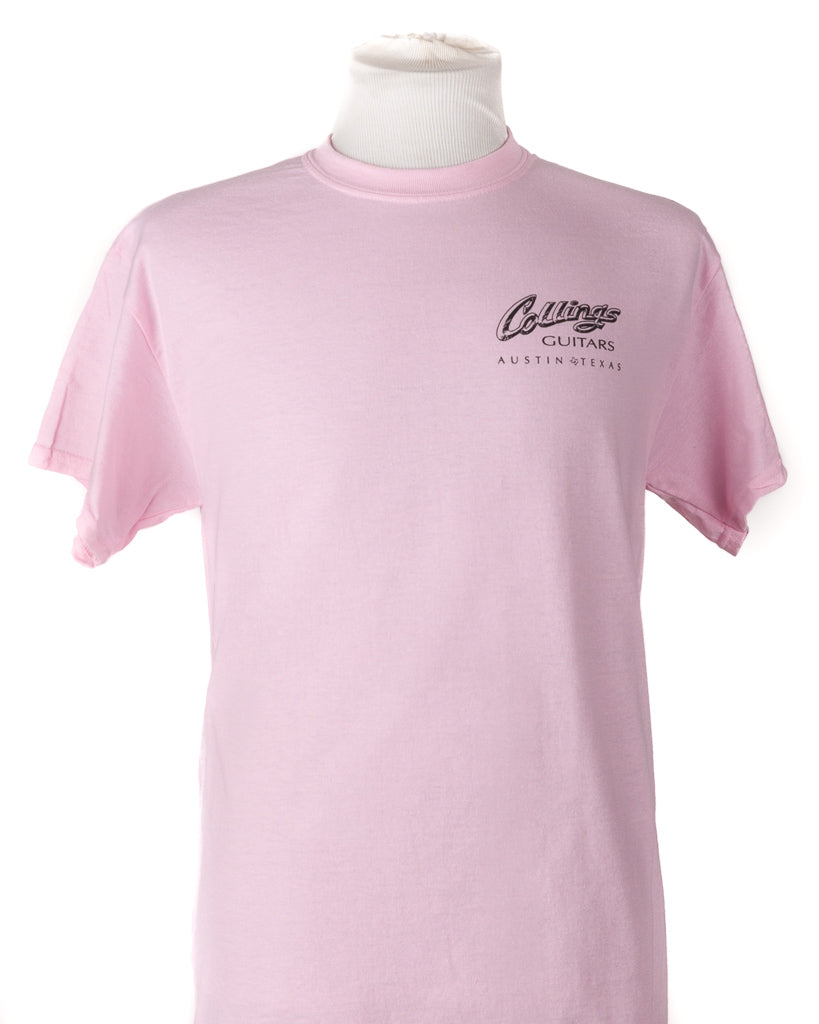 Mens Collings Factory Label Graphic T-Shirt- Light Pink