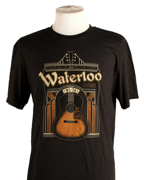 Mens Waterloo Art Deco WL-14 Graphic T-Shirt Black Frost
