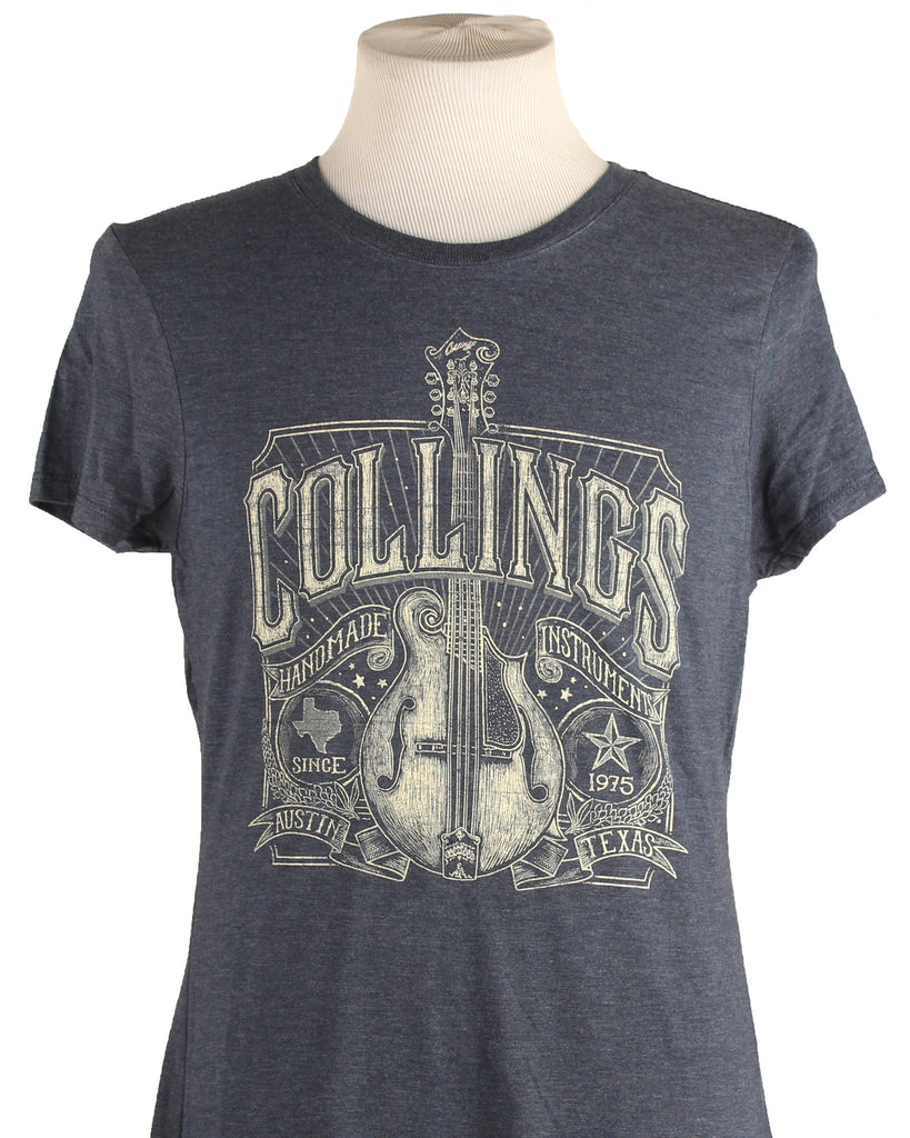 Womens Collings Mandolin Graphic T-Shirt Navy Frost
