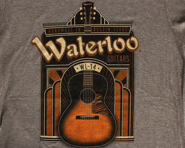 SALE!!! Womens Waterloo Art Deco WL-14 Graphic T-Shirt Grey Heather