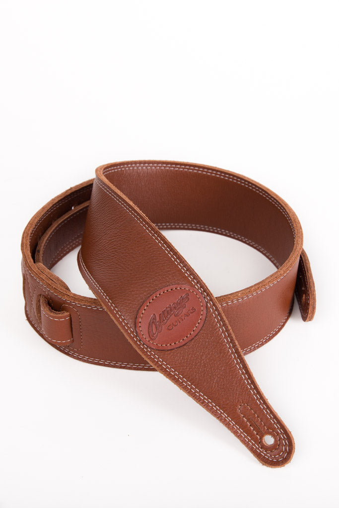 "Brown 2 1/2"" triple-ply super-soft garment leather guitar strap with Collings Logo"