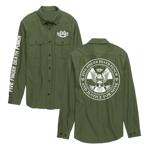 And Justice For None Army Green Flannel