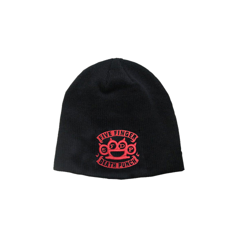 Banner Knuckle Red Embroidered Logo Beanie Red